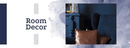 Room Decor Offer with Blue Armchair Facebook cover Tasarım Şablonu