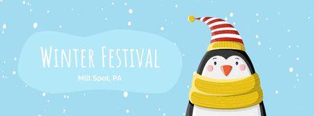 Modèle de visuel Cute winter penguin in hat - Facebook Video cover