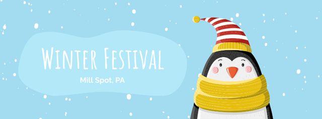 Cute winter penguin in hat Facebook Video cover Modelo de Design
