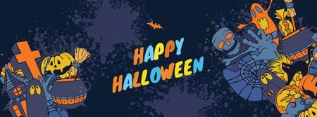 Halloween Greeting with Holiday Attributes Facebook cover Modelo de Design