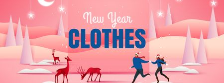 Template di design New Year Clothes Offer with People and Deers Facebook cover