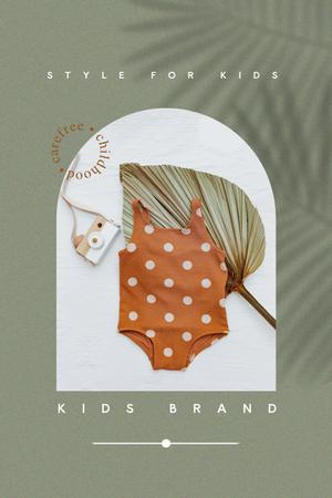 Kids Brand Clothes Offer with Cute Swimsuit Pinterest Design Template