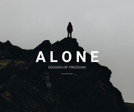 Freedom Inspiration with Man on Dark Hill Large Rectangle – шаблон для дизайну