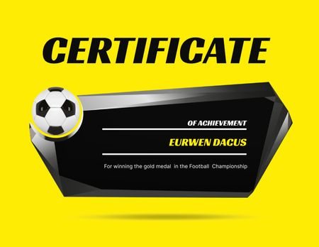 Achievement Award in Soccer Certificate Design Template
