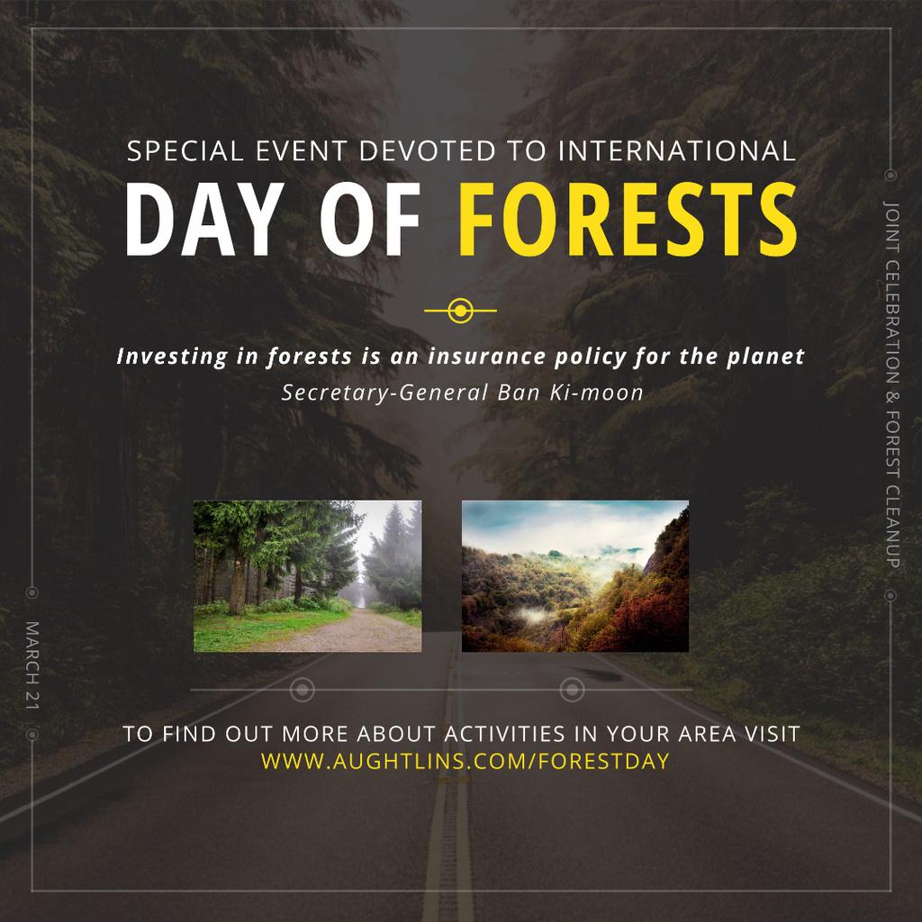 Designvorlage International Day of Forests Event Forest Road View für Instagram AD