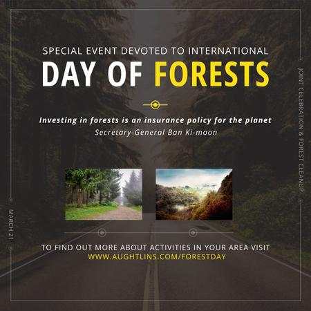 Plantilla de diseño de International Day of Forests Event Forest Road View Instagram AD