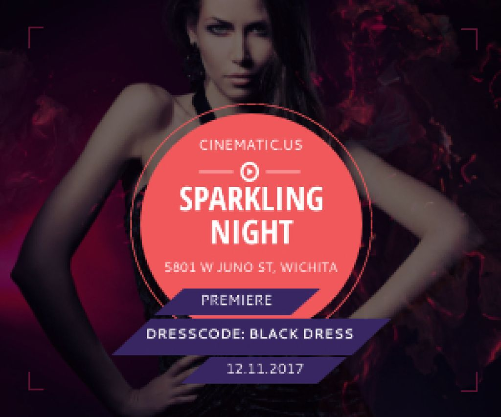 Sparkling night party poster Medium Rectangle – шаблон для дизайна