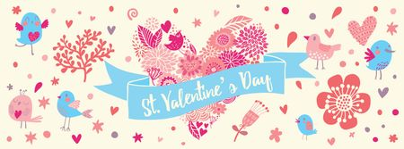 Valentine's Day Greeting with Hearts and Birds Facebook coverデザインテンプレート