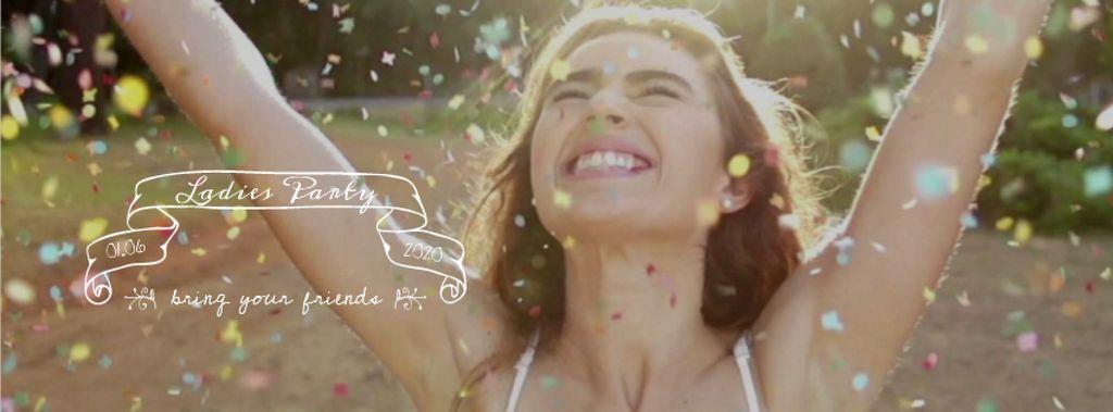 Happy girl at party under falling confetti — Crear un diseño