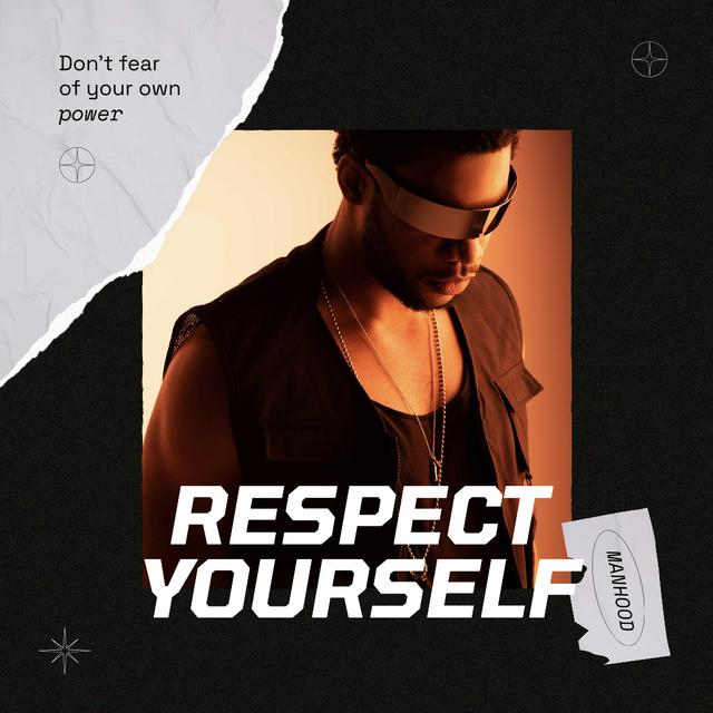 Manhood Inspiration with Confident Young Man Instagram Design Template