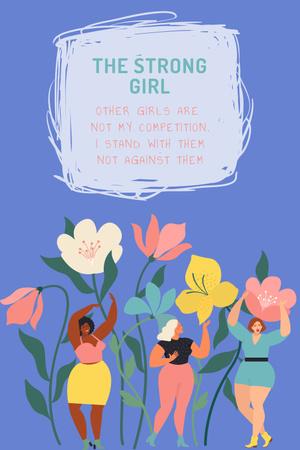 Designvorlage Girl Power Inspiration with Pink Bubbles für Pinterest