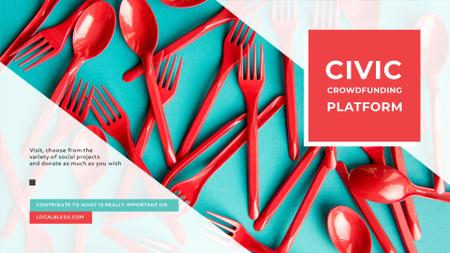 Crowdfunding Platform Red Plastic Tableware FB event cover – шаблон для дизайна