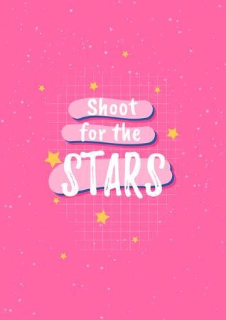 Inspirational Quote with Stars on Pink Poster Πρότυπο σχεδίασης