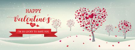 Valentine's Day Trees with Hearts in winter Facebook cover Modelo de Design