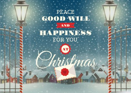 Modèle de visuel Christmas Greeting with Snowy Night Village - Card