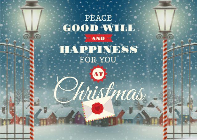 Ontwerpsjabloon van Card van Christmas Greeting with Snowy Night Village