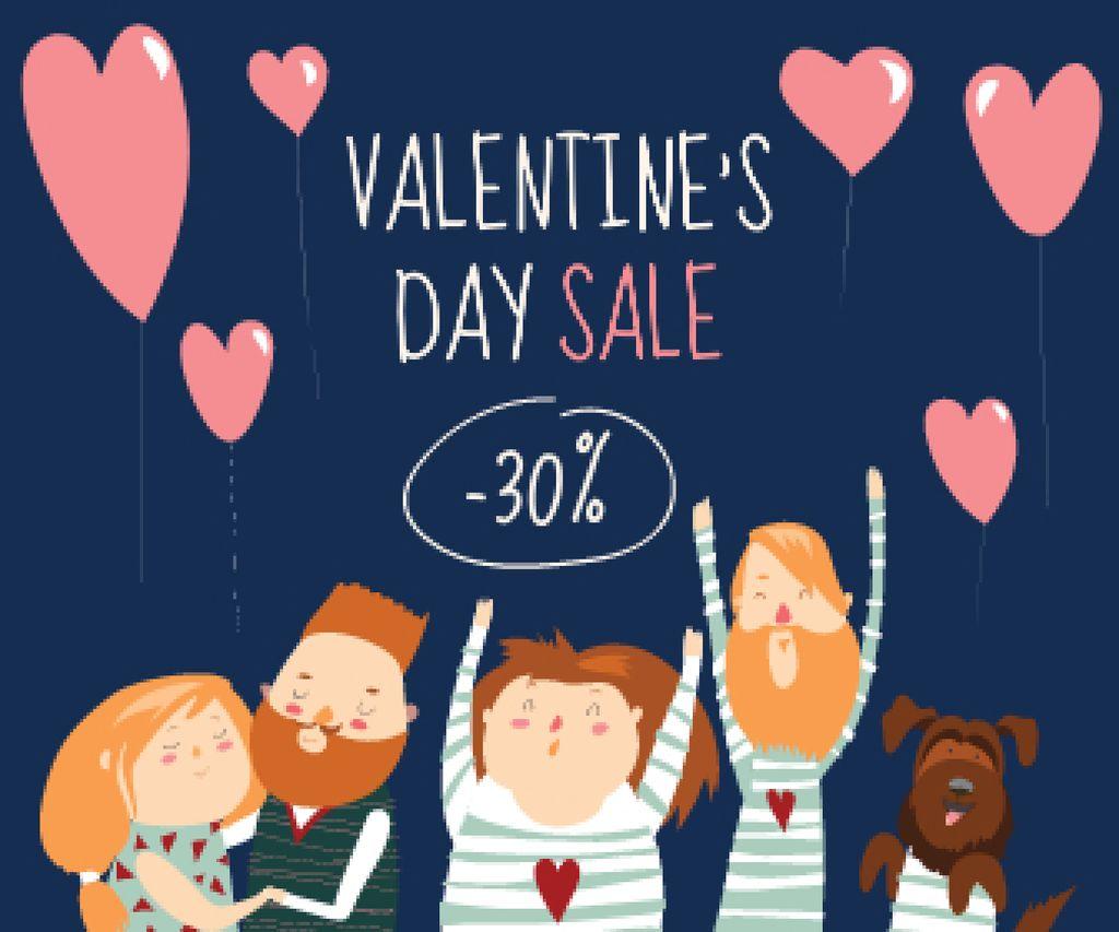 Plantilla de diseño de Valentine's Day People with Heart Balloons Large Rectangle