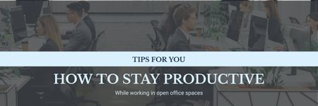 Modèle de visuel Productivity Tips Colleagues Working in Office - Twitter