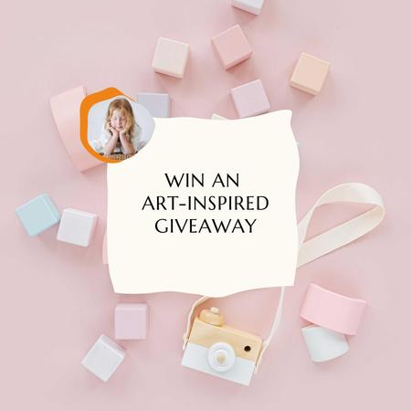 Ontwerpsjabloon van Instagram van Art-inspired Giveaway Ad with Toy Camera