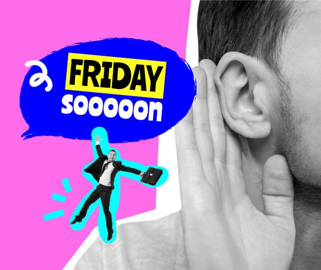 Funny Illustration of Little Businessman on Man's Shoulder Facebook Design Template