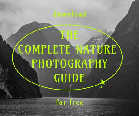 Photography Guide Ad with Mountain Lake Landscape Facebook Modelo de Design