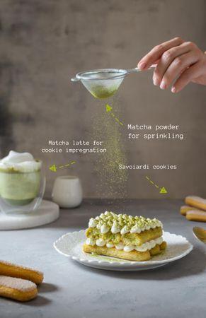 Delicious Cake with Matcha Recipe Card Modelo de Design