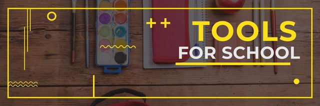 Tools for school poster Twitter Design Template