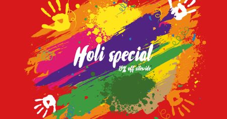Holi Festival Special Offer with Hand Prints Facebook AD Design Template