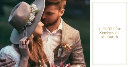 Wedding Offer with Couple of Newlyweds Facebook AD Tasarım Şablonu