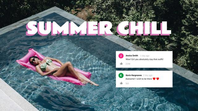 Girl enjoying Summer in Pool Youtube Thumbnail – шаблон для дизайну