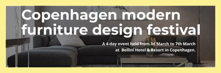 Interior Decoration Event Announcement Sofa in Grey Twitter Modelo de Design