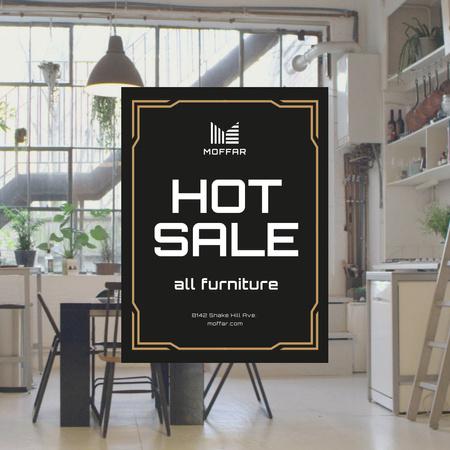 Ontwerpsjabloon van Animated Post van Furniture Sale Ad with Comfortable Room Interior