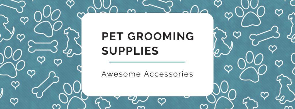 Sale of Pet supplies on Cute pattern Facebook cover Modelo de Design