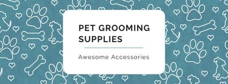 Sale of Pet supplies on Cute pattern Facebook cover Tasarım Şablonu