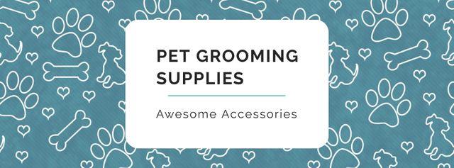 Plantilla de diseño de Sale of Pet supplies on Cute pattern Facebook cover