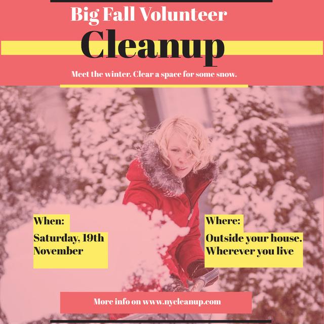 Modèle de visuel Winter Volunteer clean up - Instagram