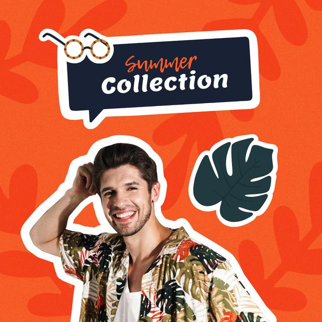 Summer Fashion Collection Ad with Man in Bright Shirt Instagram Modelo de Design