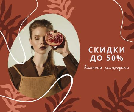 Stylish Woman with pomegranate on Women's Day Facebook – шаблон для дизайна