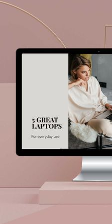 Gadgets review with Woman working on Laptop Graphic Modelo de Design