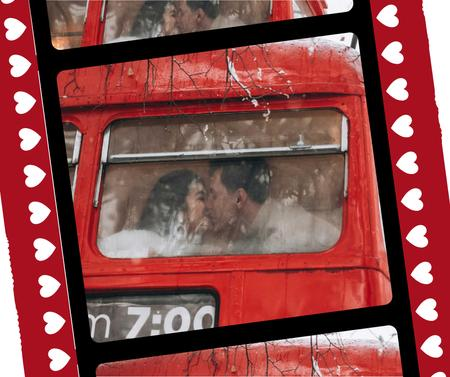 Ontwerpsjabloon van Facebook van Couple kissing in bus on Valentine's Day