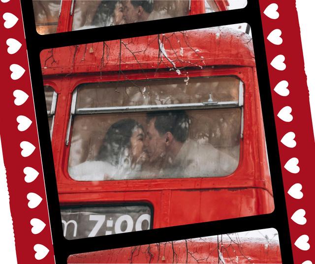 Modèle de visuel Couple kissing in bus on Valentine's Day - Facebook