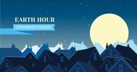 Plantilla de diseño de Earth Hour Announcement with Night Town Facebook AD