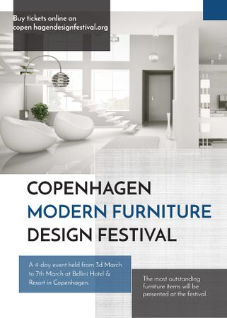 Plantilla de diseño de Furniture Festival ad with Stylish modern interior in white Flayer