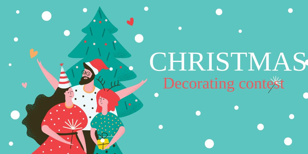Christmas Tree Decoration Contest with Happy People in Santa Hats — Crear un diseño