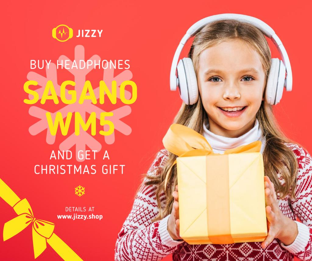 Christmas Offer Girl in Headphones with Gift — Створити дизайн
