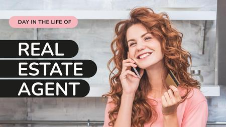 Modèle de visuel Real Estate Agent Woman Talking on the Phone - Youtube Thumbnail
