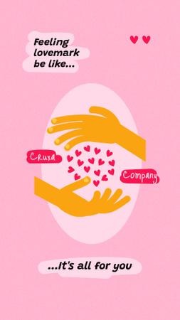 Funny Joke with Hands holding Hearts Instagram Story – шаблон для дизайна