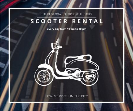 Ontwerpsjabloon van Facebook van Scooter rental advertisement on road view