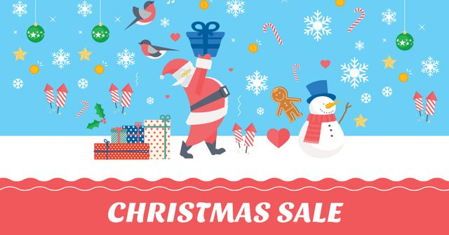 Christmas Sale with Snowman and Santa Facebook AD Design Template