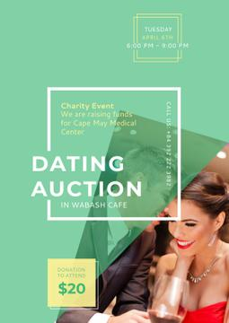 Dating Auction Announcement with Smiling Woman